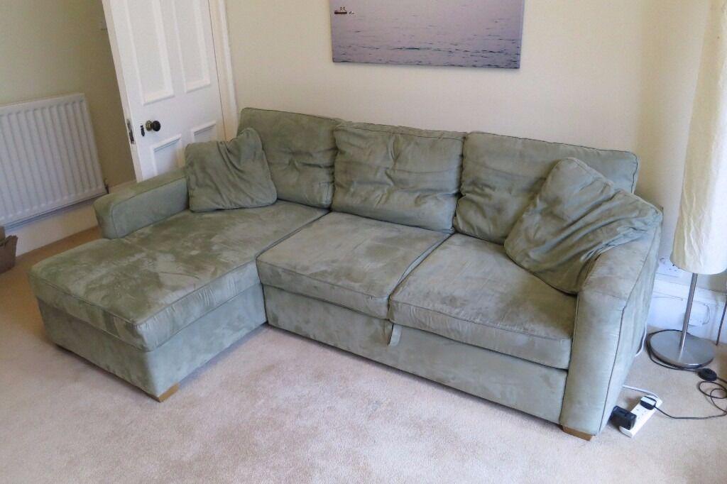 Green Faux Suede Corner Sofa Bed W Storage In Edinburgh City