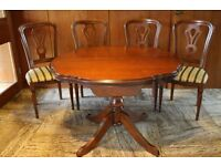 Extending Dining Table 4 Chairs - Complete Set - Solid Wood