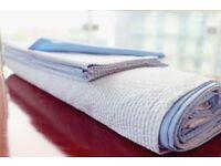 Ticking Stripe Double Bed Set Duvet 2 Pillow Cases White Blue Stripes Boutique Bedding Cotton Linen