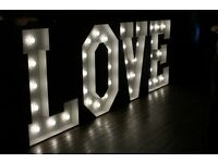4ft LOVE lights from only £70. Weddings, engagement, party