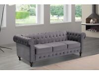 🔴LOWEST PRICE IN UK🔵plush velvet chesterfield sofa 3 and 2 seater in grey color only-flat packed-