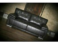 NEW X2 LEATHER 3 SEATER SOFAS