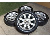 "Genuine VW Golf MK5 16"" Alloy wheels & Tyres 5x112 Passat T4 Audi A3 A4 Touran Caddy"