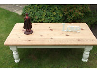 VINTAGE SOLID PINE QUALITY SHABBY CHIC COFFEE TABLE