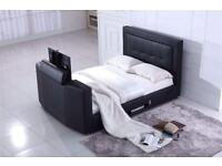 "Smart leather tv bed holds up to 40"" tv"