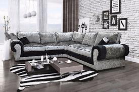 Tango Crushed Velvet 2+2 Corner Sofa only £570 or left/right corner for only £540