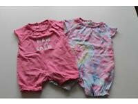 Pair of Organic Cotton Baby Rompers - 0-3 month size