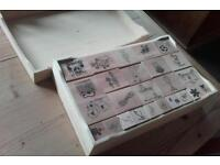 Pine box of 75 rubber stamps for card making