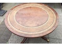Round coffee table brass castors top damaged garden table