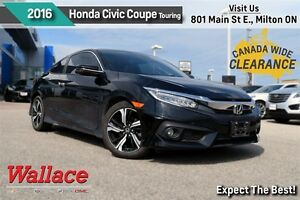 2016 Honda Civic TOURING/1-OWNER/ACCIDENT-FREE/SUNROOF/NAV/LTHR