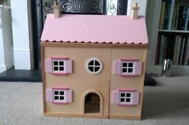 Wooden Dolls House with furniture and dolls - excellent condition