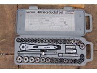 """Halfords 40 piece Socket Set in Carry Case 1/2"""" Square Drive MM & AF Kit"""