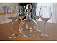 Red wine decanter and wine glasses