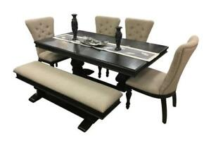 Wooden Dining Table with 4 Chairs and Bench (GL211)