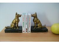 Vintage French pair of spelter German Shepherd dog book ends - spelter gilt with marble base.