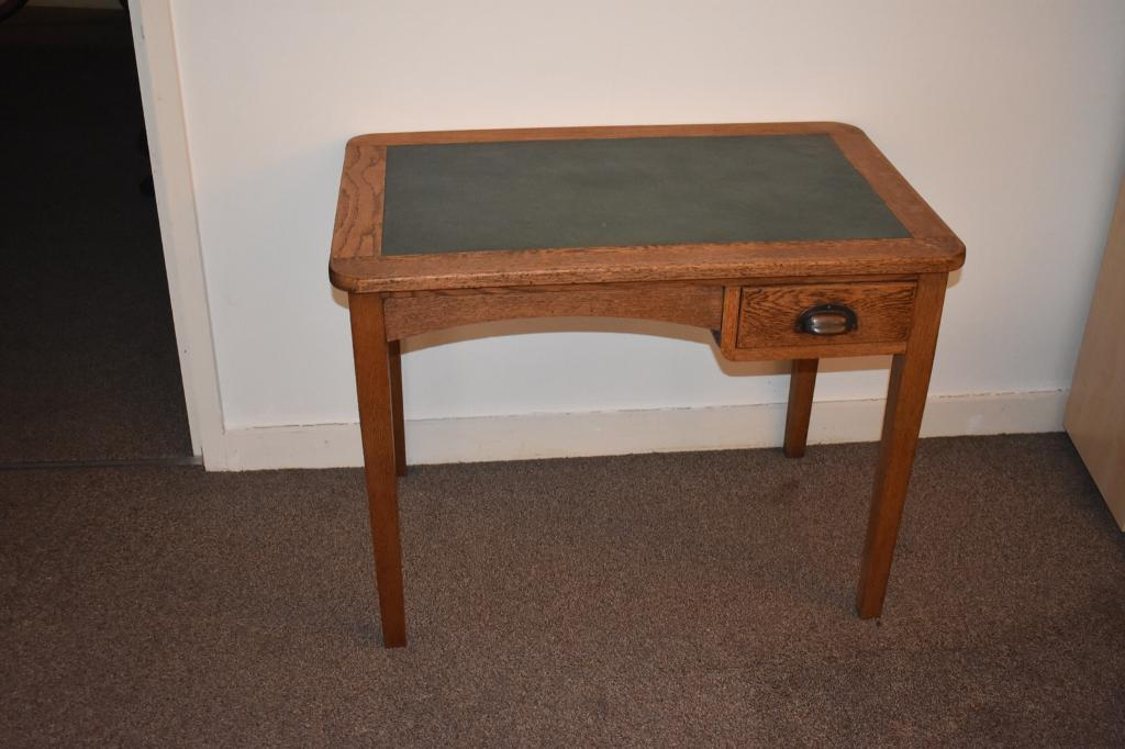 Beautiful Old Leather Writing Desk Table