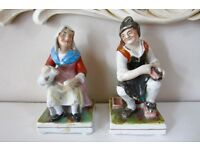 Victorian Pair Staffordshire Figures Cobbler and His Wife.