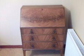 Vintage Antique Fall flap writing desk bureau chest Dated pre 1942