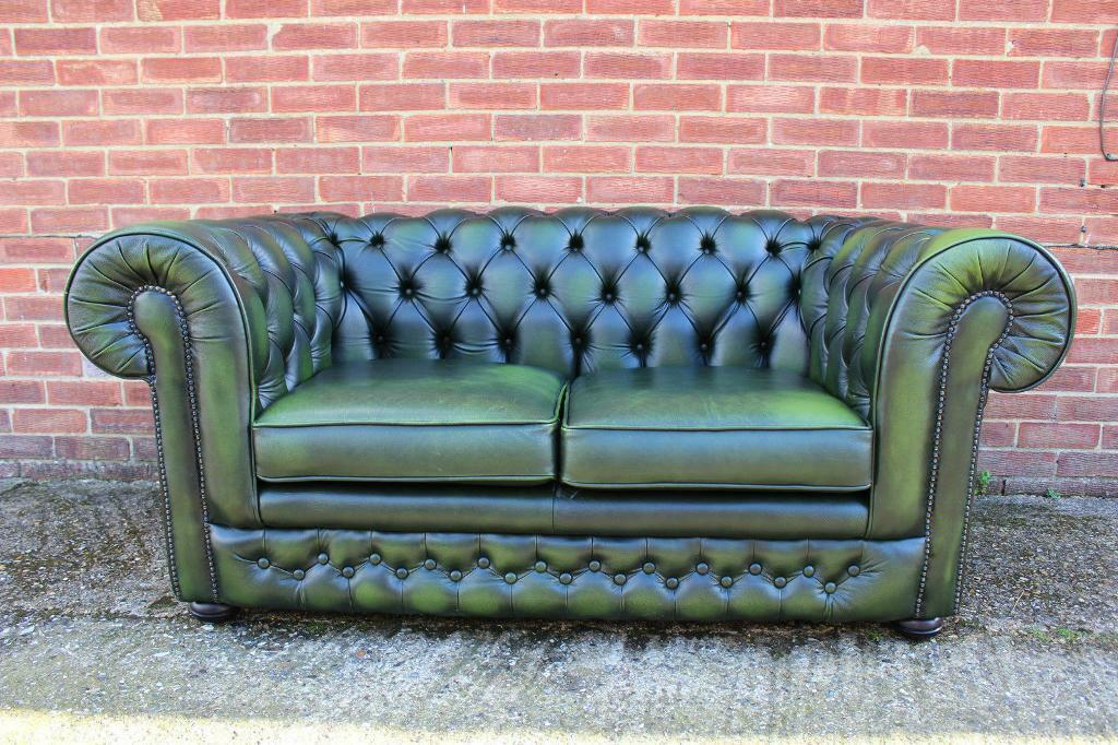 Vintage Thomas Lloyd Leather Chesterfield Green Two seater Sofa Chair United Kingdom Gumtree