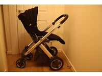 Oyster Babystyle Plush Black Pushchair and Carrycot