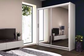 🔥💥SAME DAY DELIVERY🔥💥 BRAND NEW BERLIN 2 DOOR SLIDING WARDROBE WITH FULL MIRROR-EXPRESS DELIVERY