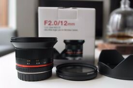 As new SAMYANG F2.0 12MM Super Wide Angle Lens for Samsung NX Black with filter
