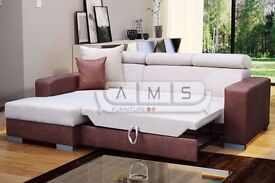BRAND NEW SUEDE FABRIC CORNER SOFA BED, DOUBLE SIZE SLEEPING AREA OTTOMAN STORAGE SPACE SETTEE
