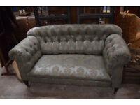 Vintage Button Back Satin Baroque Fabric Sofa Settee Lounge Green