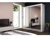 BRAND NEW 2 DOOR SLIDING WARDROBE WITH FULL MIRROR - FREE DELIVERY