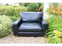 Black Leather Next Cuddle Sofa