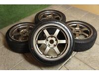 "Genuine Rota Grid 16"" Alloy wheels & Tyres 5x114.3 JDM Mr2 Civic Type R S2000 EP3"