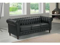 🔵💖🔴furniture for you🔵💖🔴CHESTERFIELD PU LEATHER SOFA 3 SEATER-CASH ON DELIVERY..