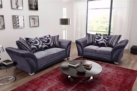 BRAND NEW SOFA SHANNON CORNER & 3 + 2 SEATER GREY / BLACK FABRIC FAUX LEATHER SOFA