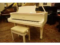 Brand new white Bentley baby grand piano. Free Uk delivery
