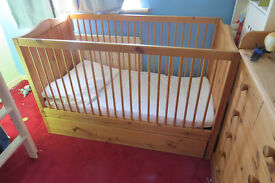 Cot bed, Childs chest of drawers with changing top and matching wardrobe with built in drawers