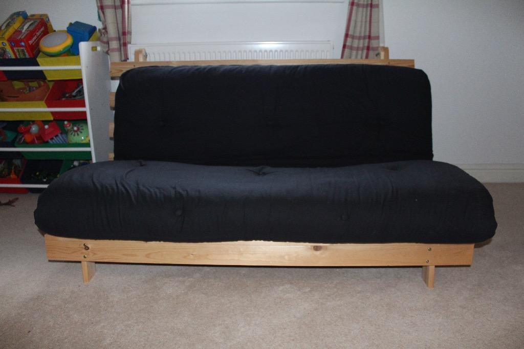 Double Wooden Futon with Black Mattress/Cushion - v good condition