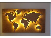 Handmade Back Lit Wooden World Map in Vintage Style. Customisable office, work or home wall art