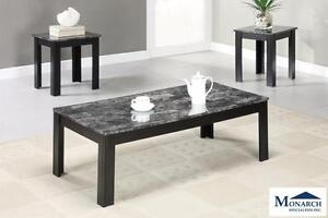 Black Marble 3PC Coffee Table Set