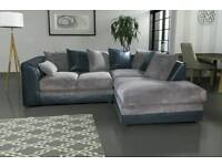 Stunning Brand New cord design corner sofa. available in black/grey or brown/beige.deliver