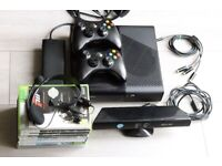 XBOX 360 E CONSOLE (ELITE VERSION) | 2x Wireless Controllers | Kinect | Headset | 8 Games