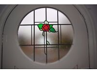 Arched stained glass front door