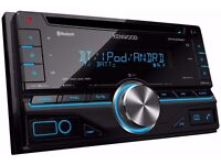 Kenwood DPX306BT Double Din Car Stereo with 2 Kenwood Speakers