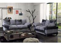 MASSIVE!! NEW Dino Jumbo Cord Corner/3+2 Seater Sofa in& Black&Silver/brown&beige Color in just 349