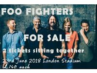 2x Foo Fighters tickets at London Stadium 23rd June 2018 @ £140 each