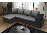Corner Fabric Sofa Bed With Storage - Grey