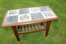 Retro 1960s Wooden COFFEE Side TABLE Inlaid Chinese Tiles