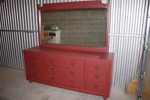 Refinished Colonial Dresser & Mirror