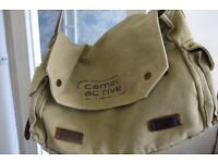 Large canvas messenger bag by Camel Active in beige
