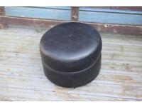Vintage Retro Sherborne Black Footstool Pouffe