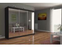 NEW CHICAGO OFFER-NEW DESIGN BEAUTIFUL CHICAGO 250CM FULL MIRROR 2 DOOR WARDROBE-FAST DELIVERY